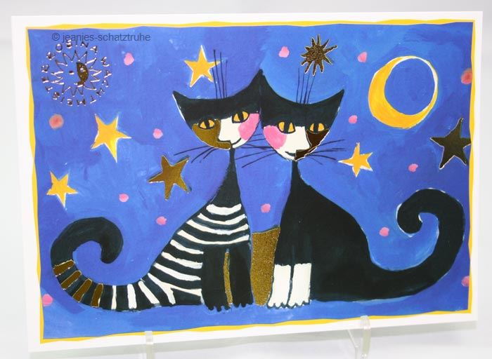 postcard art map art print rosina wachtmeister cat moonlight serenade 4022140354214 ebay. Black Bedroom Furniture Sets. Home Design Ideas